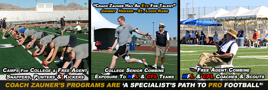 NFL KICKERS UTILIZE COACH ZAUNER'S SERVICES
